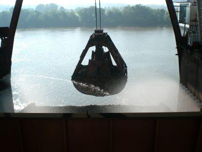 full body coal treatment on barge
